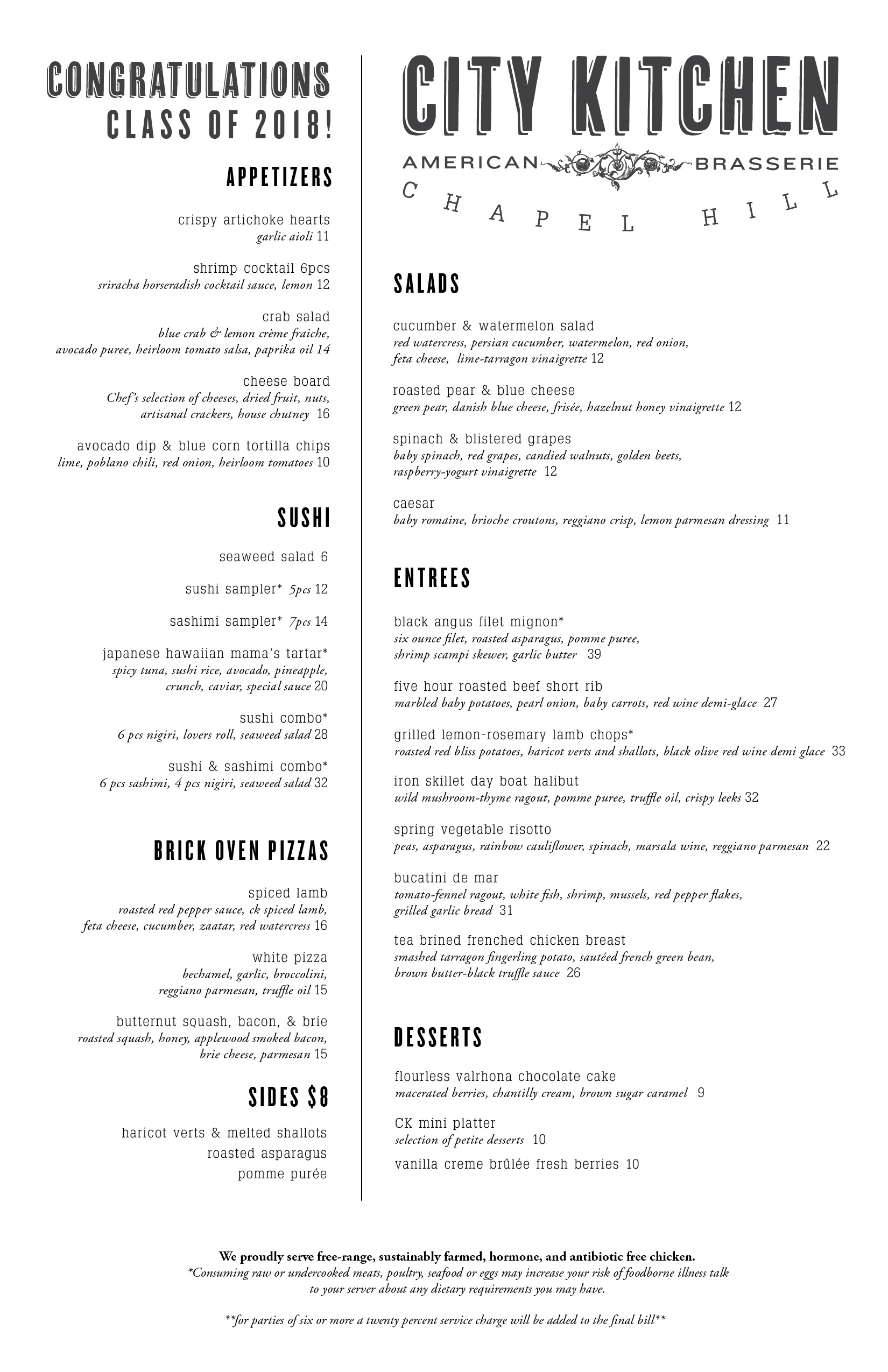 City Kitchen Chapel Hill Dinner Menu